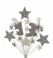 Number age 13th birthday cake topper decoration in silver and white - free postage